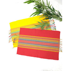 Pier 1 Fiesta Stripe Red Yellow Placemats Set of 2